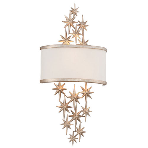 Corbett Superstar Textured Antique Silver Leaf Two-Light Wall Sconce
