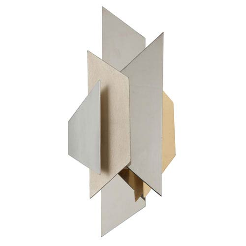 Modernist Stainless Steel with Silver And Gold Leaf 9-Inch One-Light  Wall Sconce