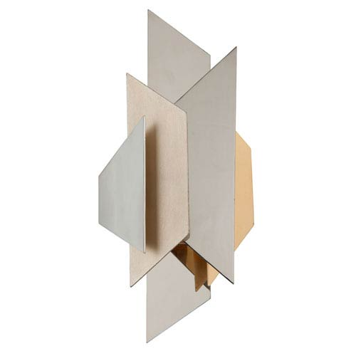 Modernist Stainless Steel with Silver And Gold Leaf 12-Inch Two-Light  Wall Sconce