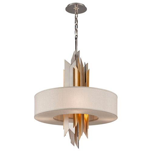 Modernist Stainless Steel with Silver And Gold Leaf 28-Inch Six-Light  Pendant