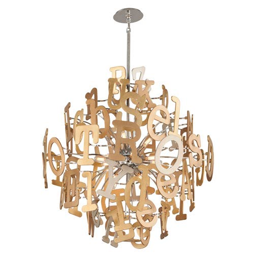 Media Stainless Steel and Multi-Leaf 40-Inch 16-Light Pendant