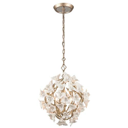 Corbett Lily Enchanted Silver Leaf 19-Inch Four-Light  Pendant