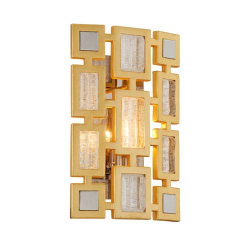 Motif Gold Leaf with Polished Stainless Accents 9-Inch One-Light Wall Sconce