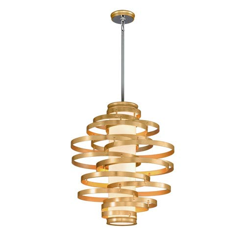 Vertigo Gold Leaf with Polished Stainless Accents 30-Inch LED Pendant