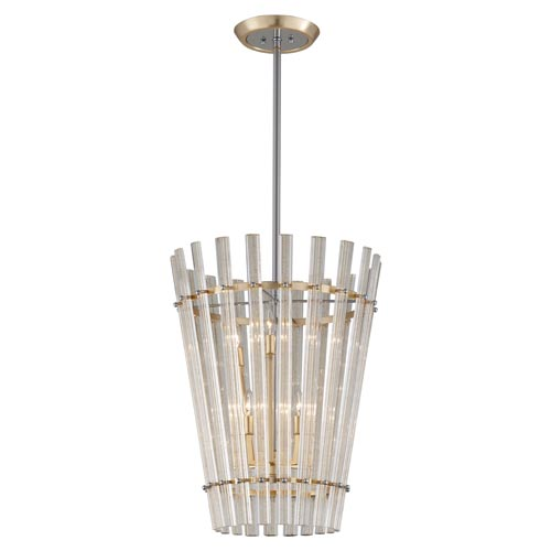 Sauterne Gold Leaf with Polished Stainless Accents 21-Inch Six-Light Pendant