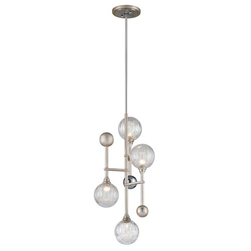 Corbett Majorette Silver Leaf with Polished Chrome Accents 14-Inch LED Pendant