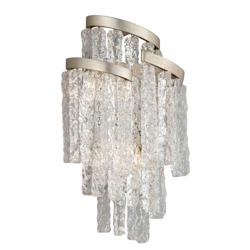 Corbett Mont Blanc Modern Silver Leaf 11-Inch Three-Light Wall Sconce