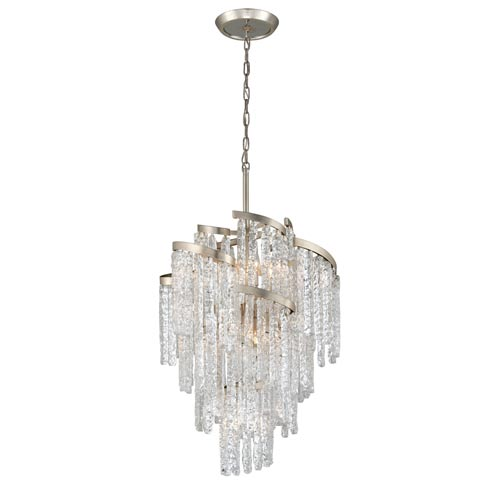 Mont Blanc Modern Silver Leaf 25-Inch Nine-Light Chandelier