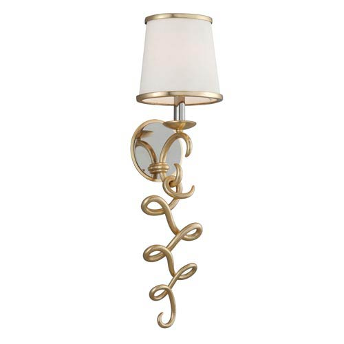 Virtuoso Gold Leaf with Polished Stainless Accents 8-Inch One-Light Wall Sconce
