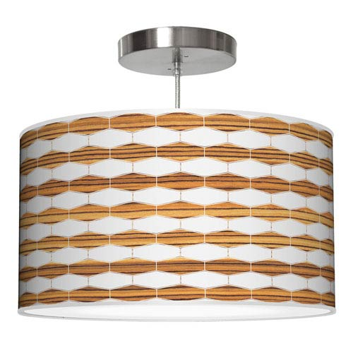 Weave 3 Zebrawood 16-Inch One-Light Drum Pendant