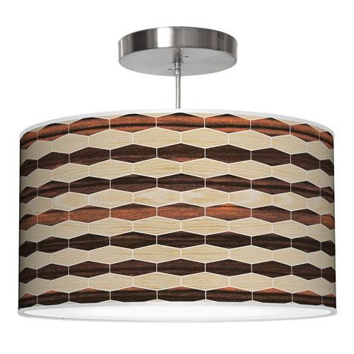 Weave 4 Oak and Ebony 24-Inch Two-Light Drum Pendant