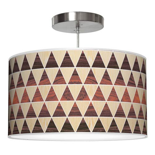 Triangle 2 Oak and Rosewood 16-Inch One-Light Drum Pendant