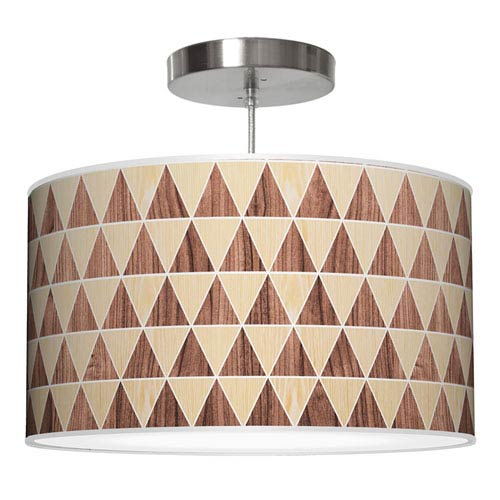 Triangle 2 Oak and Walnut 16-Inch One-Light Drum Pendant