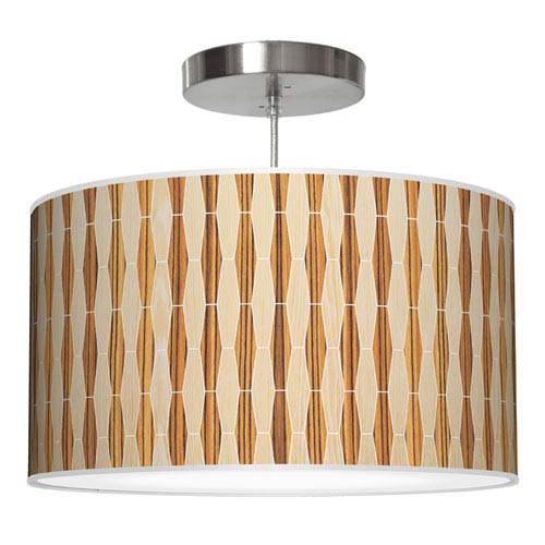 Weave 2 Oak and Zebrawood 30-Inch Two-Light Drum Pendant