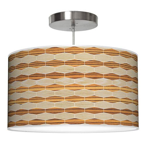 Weave 4 Oak and Zebrawood 16-Inch One-Light Drum Pendant