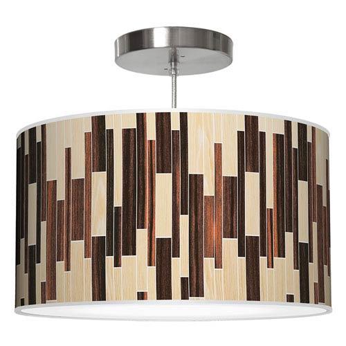 Tile 2 Oak and Ebony 30-Inch Two-Light Drum Pendant