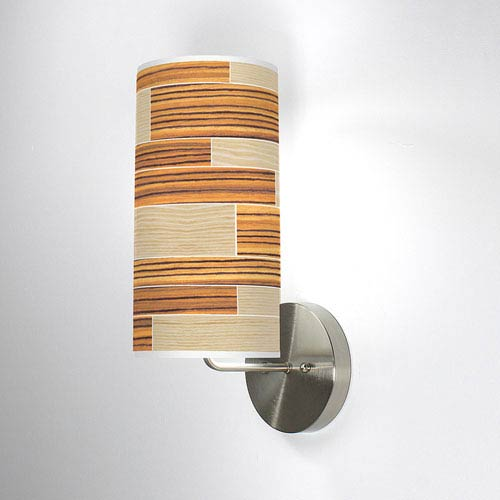 Tile 4 Oak and Zebrawood One-Light Wall Sconce