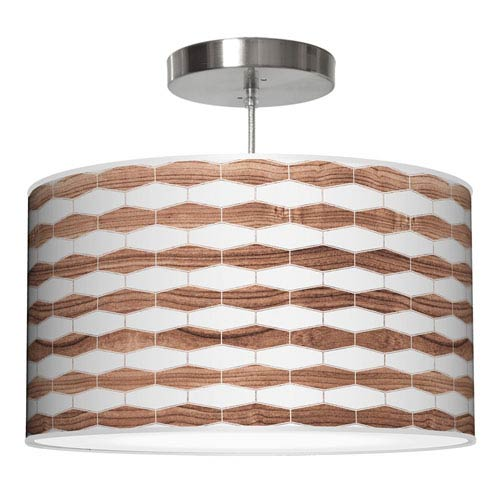 Weave 3 Rosewood 24-Inch Two-Light Drum Pendant