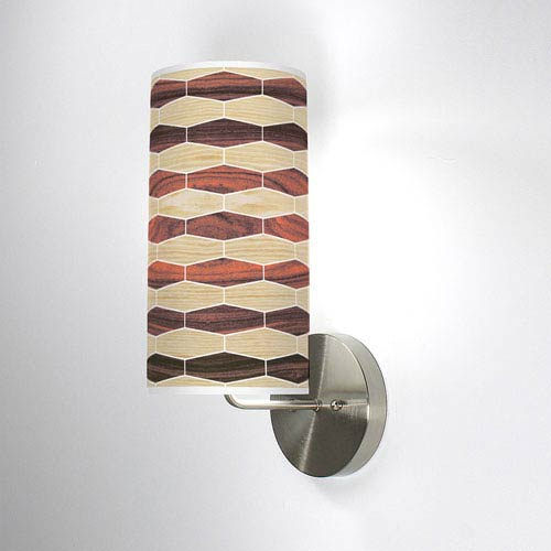 Weave 4 Oak and Rosewood One-Light Wall Sconce