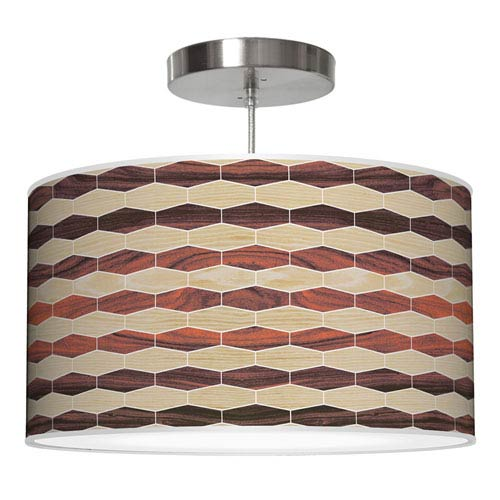 Weave 4 Oak and Rosewood 30-Inch Two-Light Drum Pendant