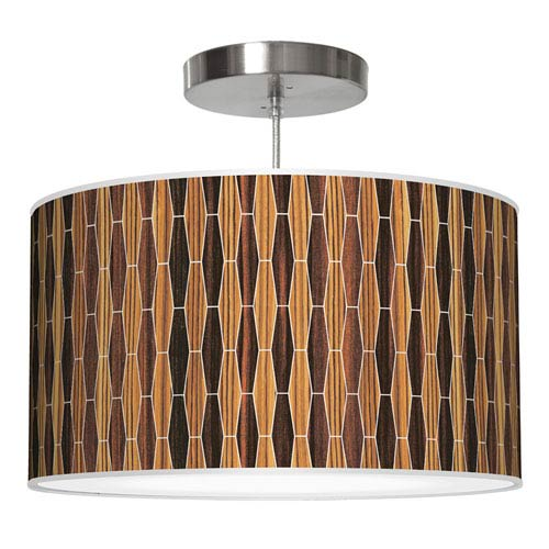 Weave 2 Zebrawood and Ebony 20-Inch Two-Light Drum Pendant