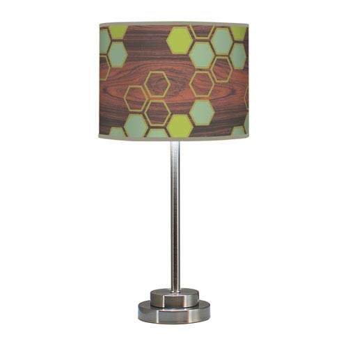 Hex Multicolor One-Light Table Lamp with Green Stem