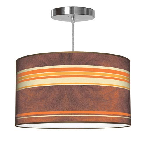 Horizontal Stripey 2 Polished Chrome Printed Drumshade Pendant 16X16X9