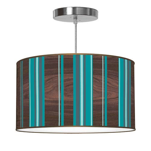 Vertical Stripey 1 Polished Chrome Printed Drumshade Pendant 16X16X9