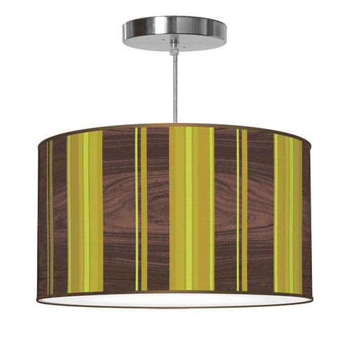 Vertical Stripey 2 Polished Chrome Printed Drumshade Pendant 16X16X9