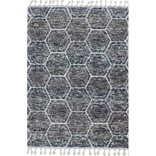 Bungalow Gray and Teal Rectangular: 3 Ft. 3 In. x 4 Ft. 11 In. Rug