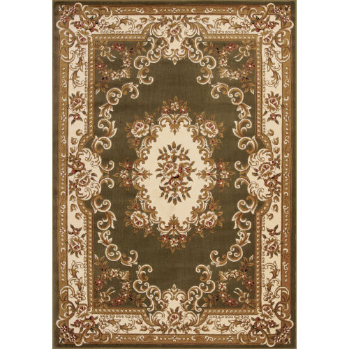 Corinthian Aubusson Green and Ivory Area Rug