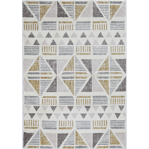 Elements Ivory and Gold Rectangular: 7 Ft. 10 In. x 10 Ft. 10 In. Rug