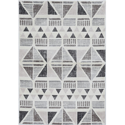 Elements Ivory and Mocha Rectangular: 5 Ft. 3 In. x 7 Ft. 7 In. Rug