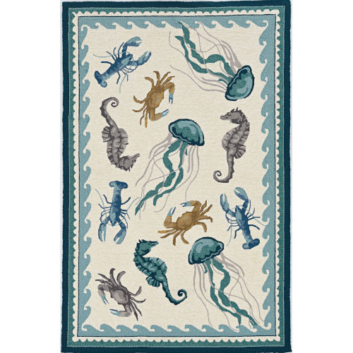 Harbor Beach Life Ivory and Teal Indoor/Outdoor Rug
