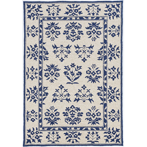 Harbor Haven Sand and Blue Round: 7 Ft. 6 In. Area Rug