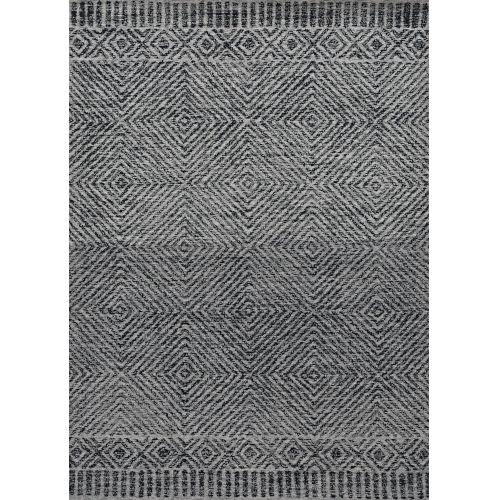 Hudson Gray and Black Rectangular: 6 Ft. 6 In. x 9 Ft. 6 In. Rug
