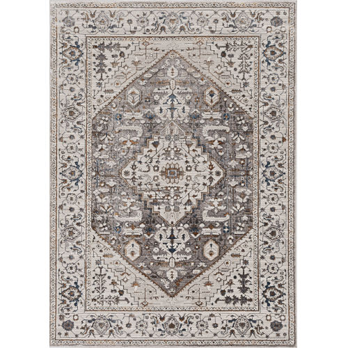 Inspire Grey Parisian Rectangle: 6 Ft. 7 In. x 9 Ft. 6 In. Area Rug