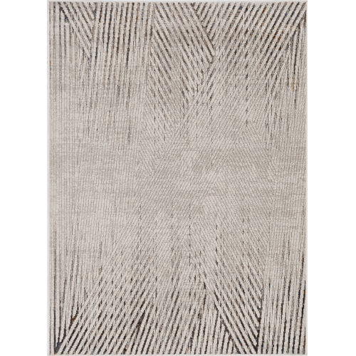 Inspire Ivory Grey Parker Rectangle: 6 Ft. 7 In. x 9 Ft. 6 In. Area Rug