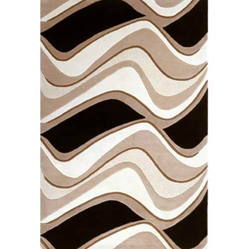 Eternity Black/Beige Waves Rectangle: 5 Ft. x 8 Ft. Rug