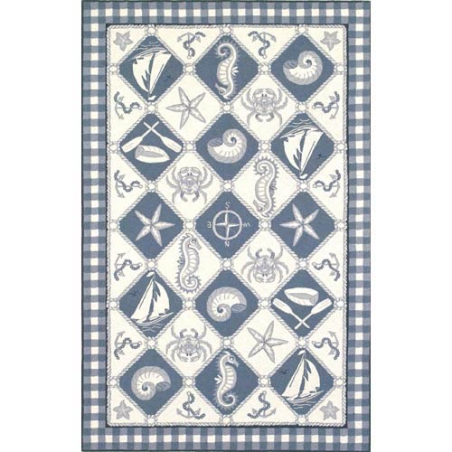 Colonial Blue/Ivory Nautical Panel Rectangle: 3 Ft. 6 In. x 5 Ft. 6 In. Rug