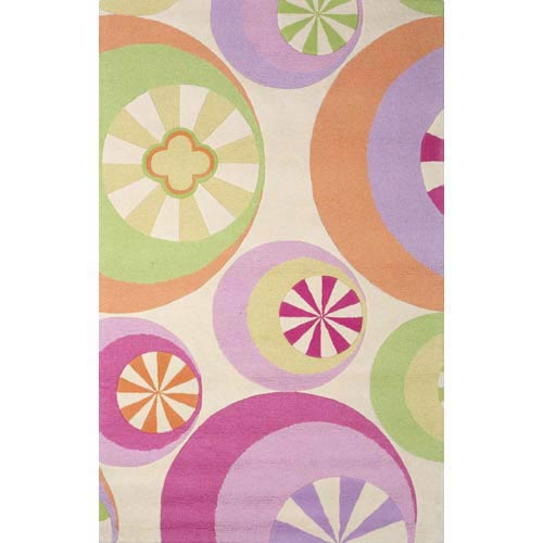 Kidding Around Pastel Peppermints Rectangle: 3 Ft. 3 In. x 5 Ft. 3 In. Rug