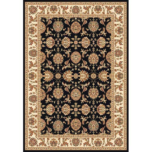 Cambridge Black/Ivory Kashan Rectangle: 5 Ft. 3 In. x 7 Ft. 7 In. Rug