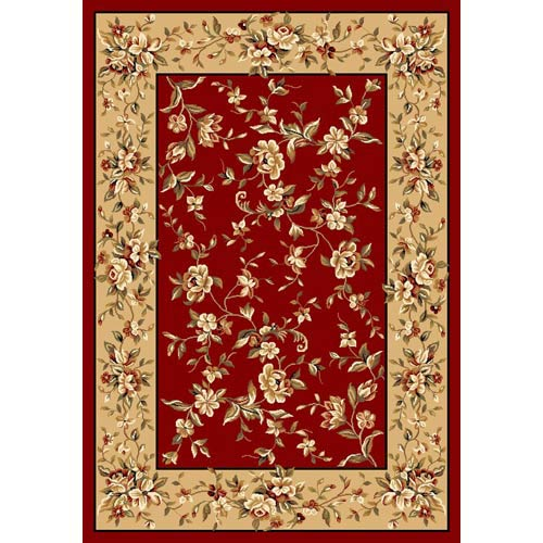 Cambridge Red/Beige Floral Delight Rectangle: 5 Ft. 3 In. x 7 Ft. 7 In. Rug