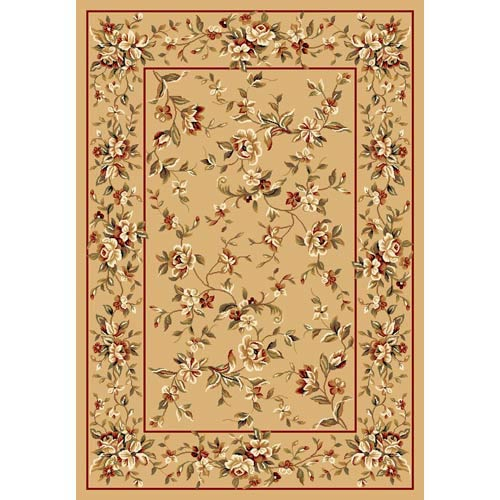 Cambridge Beige Floral Delight Rectangle: 5 Ft. 3 In. x 7 Ft. 7 In. Rug