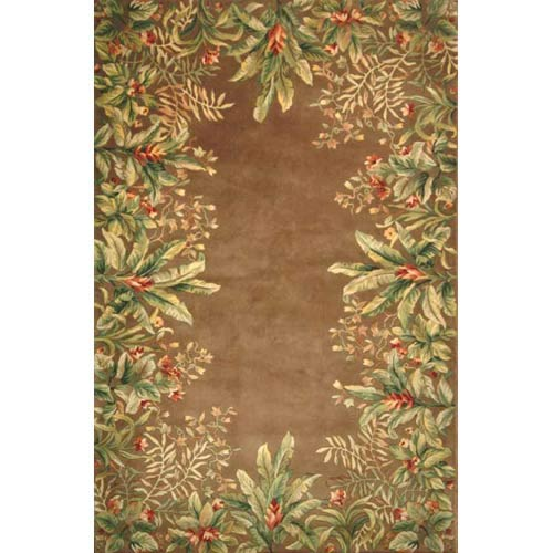 Emerald Taupe Tropical Border  Rectangle: 5 Ft. 3 In. x 8 Ft. 3 In. Rug
