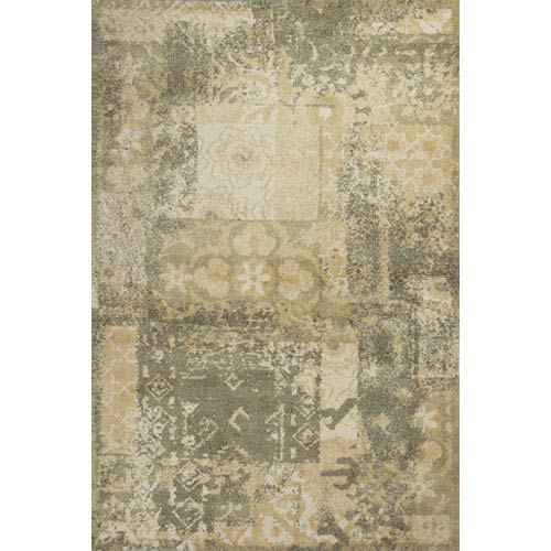 KAS Oriental Rugs Allure Sage and Gold Vintage Rectangular: 5 Ft. x 7 Ft. Rug