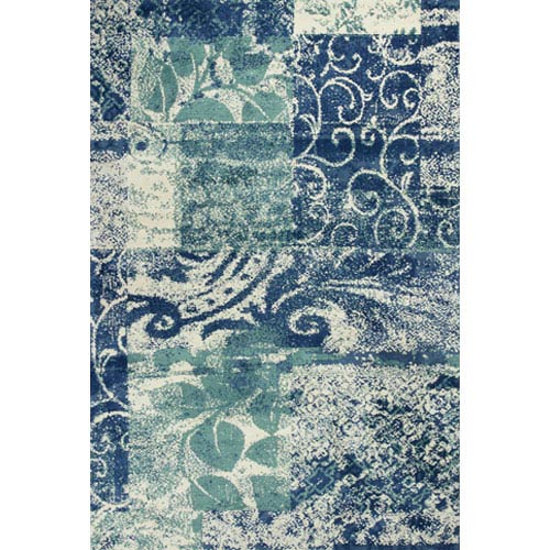 KAS Oriental Rugs Allure Blue and Green Artisan Rectangular: 5 Ft. x 7 Ft. Rug