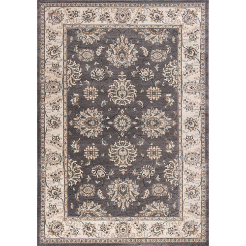 KAS Oriental Rugs Avalon Grey and Ivory Kashan Rectangular: 3 Ft. 3 In. x 5 Ft. 3 In. Rug