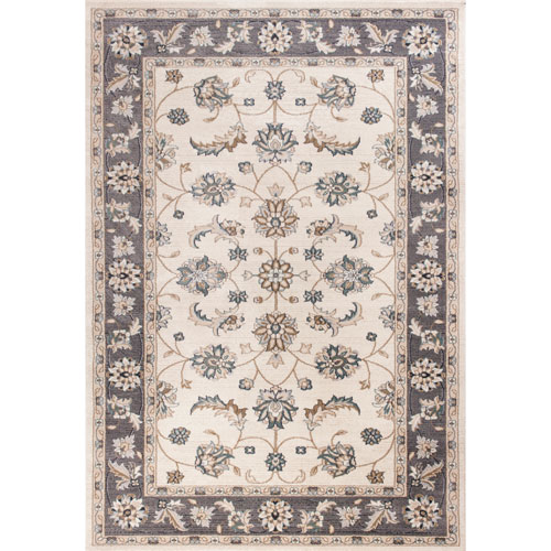 Avalon Ivory and Grey Mahal Rectangular: 3 Ft. 3 In. x 5 Ft. 3 In. Rug