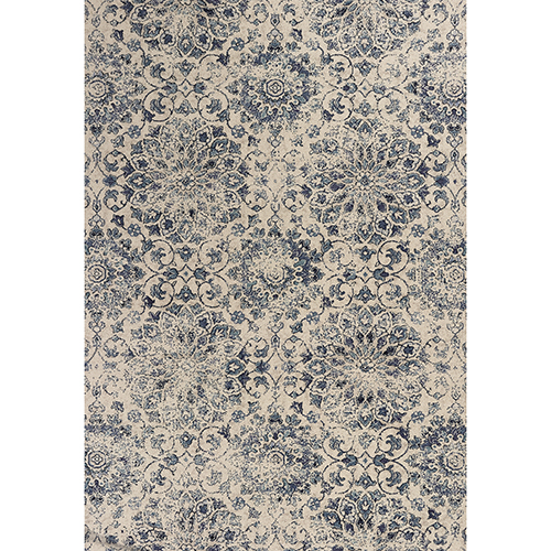 KAS Oriental Rugs Bob Mackie Home Vintage Ivory and Blue Mosaic Rectangular: 3 Ft. 3 In. x 4 Ft. 11 In. Rug